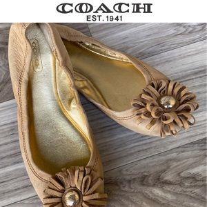 Coach Ariza Nubuck Flower Medallion Ballet Flats